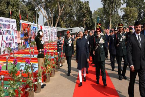 The Vice President, Shri M. Hamid Ansari inspecting the flag area at the inauguration of the NCC Republic Day Camp 2017, in New Delhi on January 06, 2017.