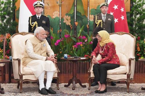 The Prime Minister, Shri Narendra Modi meeting the President of Singapore, Ms. Halimah Yacob, at Istana - Presidential Palace, in Singapore.