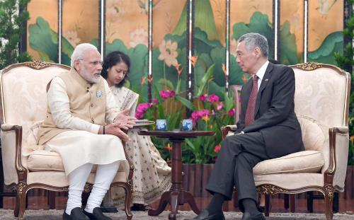 The Prime Minister, Shri Narendra Modi meeting the Prime Minister of Singapore, Mr. Lee Hsien Loong, at Istana - Presidential Palace, in Singapore.
