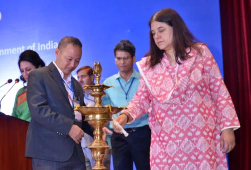 The Union Minister for Women and Child Development, Smt. Maneka Sanjay Gandhi lighting the lamp at the National Conference on Beti Bachao Beti Padhao (BBBP) in New Delhi on May 04, 2018.