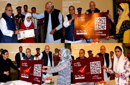 Governor Satya Pal Malik launched the IPPB facility for Jammu and Kashmir at an impressive function organized by the J&K Postal Circle at SKICC on saturday Ist Sep 2018