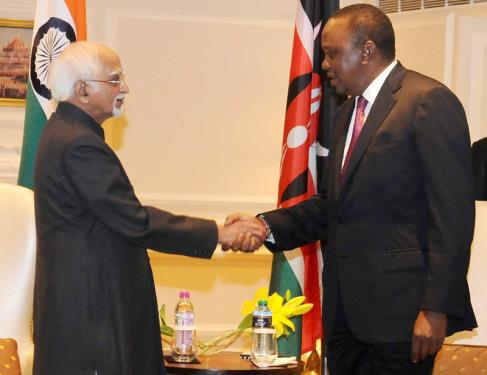 The Vice President, Shri M. Hamid Ansari calling on the President of Kenya, Mr. Uhuru Kenyatta, in New Delhi on January 11, 2017.