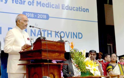 The President, Shri Ram Nath Kovind addressing at the inauguration of the Centenary Celebrations of Christian Medical College (CMC), at Vellore, in Tamil Nadu on May 04, 2018.