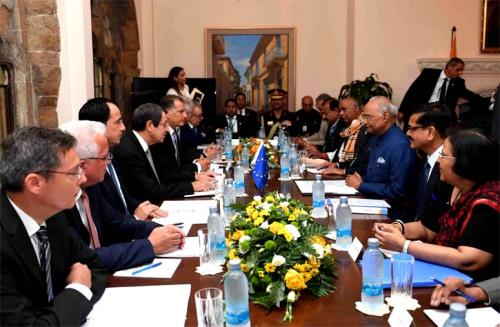 President Ramnath Kovind held delegation level talks with his counterpart president Nicos Anastasiades in Cypress on Monday 03 Sep2018