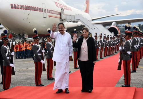 The Vice President, Shri M. Venkaiah Naidu with the Foreign Minister of Guatemala, Mrs. Sandra Jovel, in Guatemala on May 06, 2018.