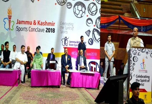 The Union Home Minister, Rajnath Singh addressed sports conclave at Srinagar in Kashmir valley on 7June 2018