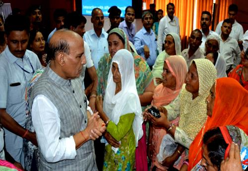 The union Home minister Raj Nath Singh interacting with border residents at jammu on Friday the 8th of  June 2018