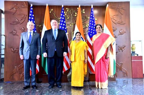 External Affairs Minister Sushma Swaraj and Defence Minister Nirmala Sitharaman with their American counterparts Mike Pompeo and James Mattis before the 2 + 2 dialogue on thursday 6 september 2018 in New delhi