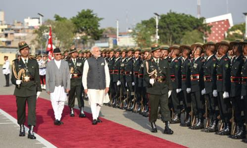 The Prime Minister, Shri Narendra Modi inspecting the Guard of Honour at the Ceremonial Reception, in Kathmandu, Nepal on May 11, 2018.