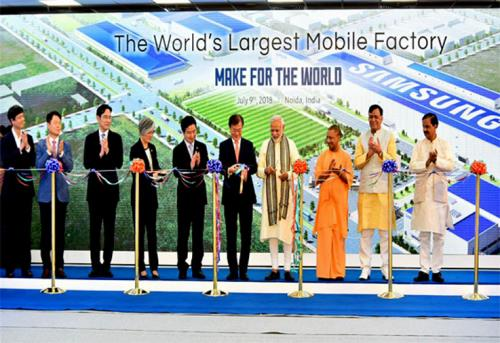 The Prime Minister, Shri Narendra Modi and the President of the Republic of Korea, Mr. Moon Jae-in jointly inaugurating the Samsung manufacturing plant, World's Largest Mobile Factory, in Noida, Uttar Pradesh. on9th of July 2018