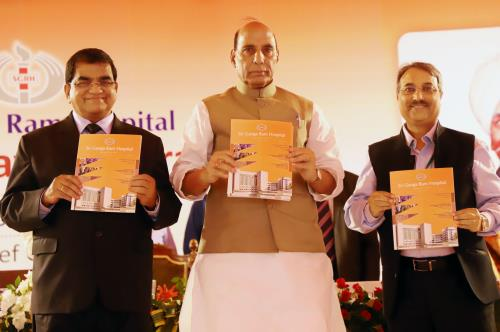 The Union Home Minister, Shri Rajnath Singh launching the newsletter at the 127th Founder's Day Celebrations of Sir Ganga Ram Hospital, in New Delhi on April 13, 2018.