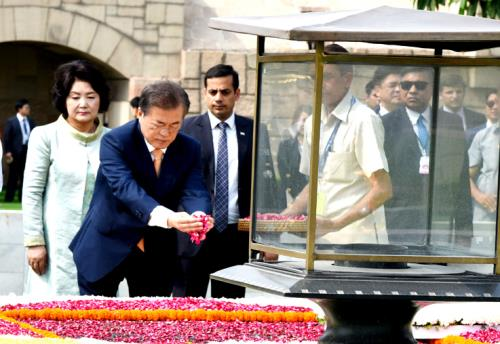 The President of the Republic of South Korea, Mr. Moon Jae-in paying floral tributes at the Samadhi of Mahatma Gandhi, at Rajghat, in Delhi on July 10, 2018.