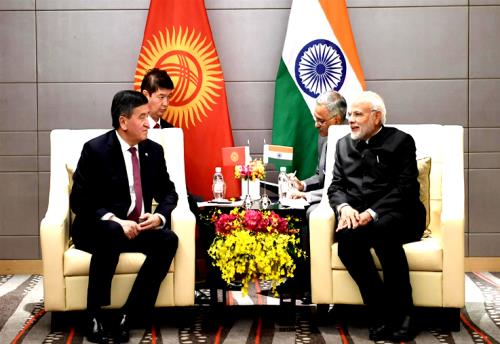 The Prime Minister, Shri Narendra Modi meeting the President of Kyrgyzstan, Mr. Sooronbay Jeenbekov, on the sidelines of the Shanghai Cooperation Organisation (SCO) Summit, in Qingdao, China.