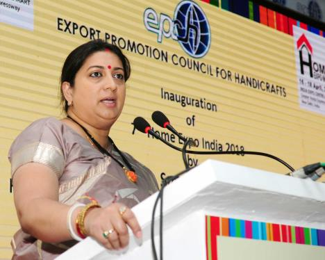 The Union Minister for Textiles and Information & Broadcasting, Smt. Smriti Irani addressing at the inauguration of the Home Expo India - 2018, at India Expo Centre and Mart, Greater Noida, in Uttar Pradesh on April 16, 2018.