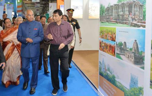 The President, Shri Ram Nath Kovind visiting after inaugurating the Global Exhibition on Services-2018, at Mumbai, in Maharashtra on May 15, 2018.