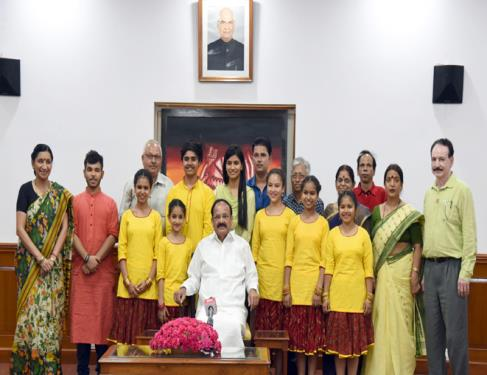 The Vice President, Shri M. Venkaiah Naidu with the students represented India at The International Movement of Children and their Friends at  International Festival held in Ukraine and Poland under the patronage of UNESCO, in New Delhi on July 12, 2018.