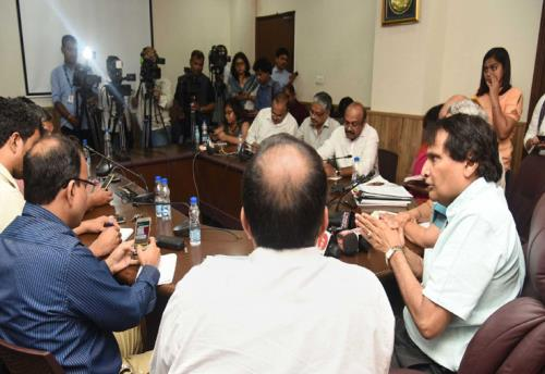 The Union Minister for Commerce & Industry and Civil Aviation, Shri Suresh Prabhakar Prabhu interacting with the media regarding US visit and Trade Data, in New Delhi on June 15, 2018.