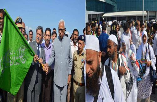 Governor N.N. Vohra flagged off the first flight of 340 Hajis for Madinah Munawarrah which left from the Srinagar  International Airport this morning.