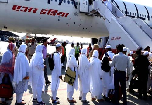 The first flight of 340 Hajis for Madinah Munawarrah which left from the Srinagar  International Airport this morning