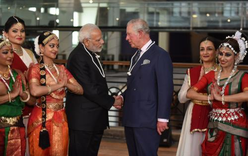The Prime Minister, Shri Narendra Modi interacting with the Prince Charles, during the visit to the science museum to view the Exhibition on 5000 years of Science and Innovation, in London on April 18, 2018