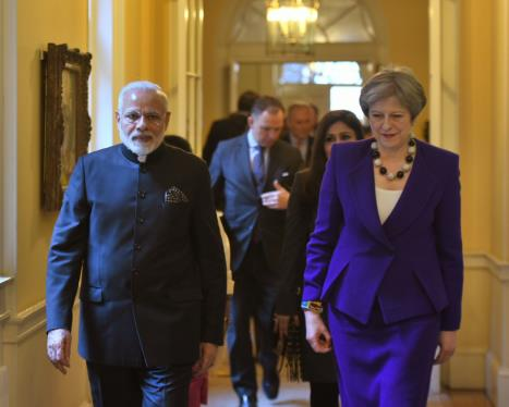 The Prime Minister, Shri Narendra Modi with the Prime Minister of United Kingdom, Ms. Theresa May, at 10 Downing Street, in London on April 18, 2018.
