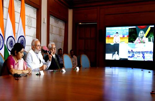 The Prime Minister, Shri Narendra Modi, the Prime Minister of Bangladesh, Ms. Sheikh Hasina,  jointly dedicate three projects in Bangladesh via Video Conference, in New Delhi on September 10, 2018