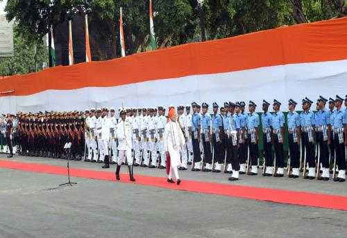 The Prime Minister, Shri Narendra Modi inspecting the Guard of Honour at Red Fort, on the occasion of 72nd Independence Day, in Delhi on August 15, 2018