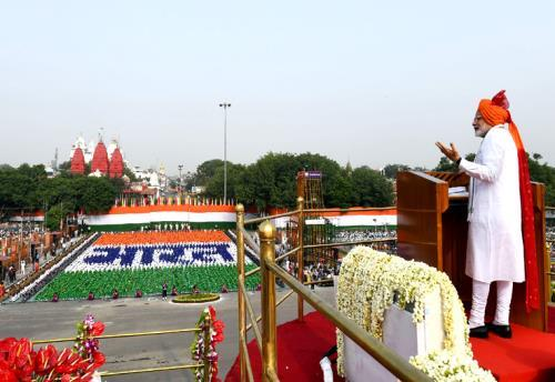 The Prime Minister, Shri Narendra Modi addressing the Nation on the occasion of 72nd Independence Day from the ramparts of Red Fort, in Delhi on August 15, 2018.