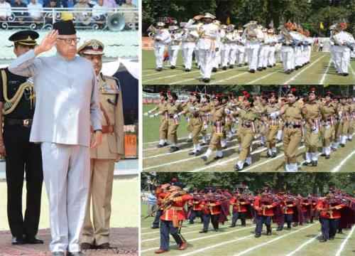 J&K Governor N.N.Vohra taking salute from marching contingents at Jammu on the eve of 72nd Independence Day on 15 August 2018