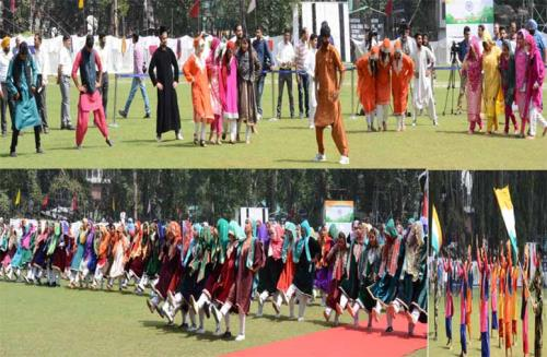 A lady witness cultural programme on the Eve of 72nd Independence day  15th, August 2018 in J&K