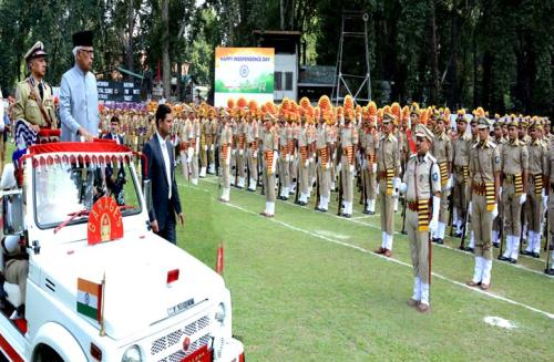 J&K Governor N.N.Vohra inspecting  march parade on the eve of 72nd Independence Day on 15 th August 2018 at jammu