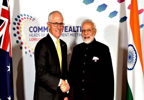 The Prime Minister, Shri Narendra Modi meeting the Prime Minister of Australia, Mr. Malcolm Turnbull, on the sidelines of CHOGM 2018, in London.