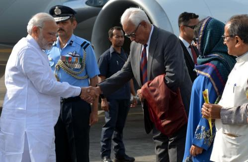Prime Minister Narendra Modi received by Sh. N.N. Vohra  Governor of Jammu and Kashmir at technical Airport in Jammu on 19th May 2018