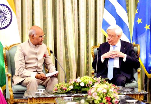 The President, Shri Ram Nath Kovind meeting the President of Hellenic Republic, Mr. Prokopis Pavlopoulos, at Presidential Mansion, in Athens, Greece on June 18, 2018.