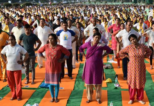 People participating in the rehearsal ahead of the Prime Minister's event on the International Day of Yoga 2018, at the Forest Research Institute, in Dehradun, Uttarakhand on June 19, 2018