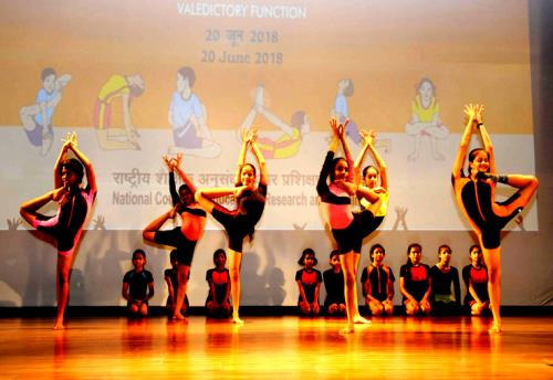The students perform Yoga, at the valedictory function of the National Yoga Olympiad-2018, in New Delhi on June 20, 2018.