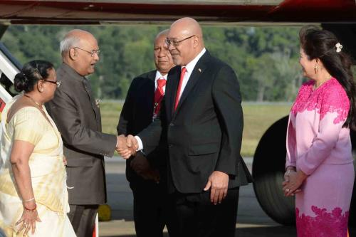 The President, Shri Ram Nath Kovind being received by the President of the Republic of Suriname, Mr. Desire Delano Bouterse, on his arrival, at Johan Adolf Pengel International Airport, in Paramaribo, Suriname on June 19, 2018.