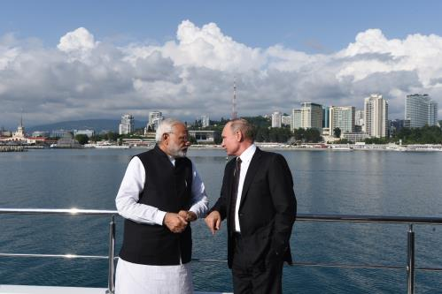 Russian President Vladimir Putin and Indian Prime minister Narendra Modi at sochi in Russia on Monday 21th May 2018
