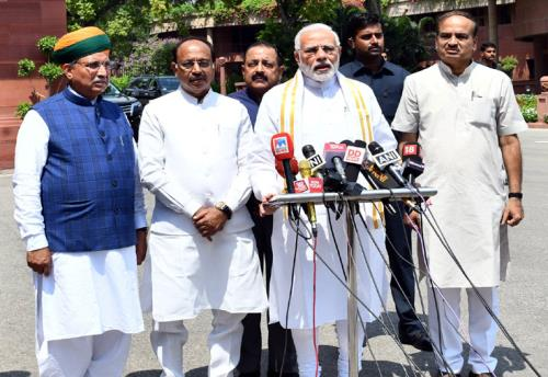 The Prime Minister, Shri Narendra Modi addressing the media ahead of the Monsoon Session of Parliament, in New Delhi on July 18, 2018.