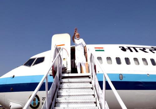 The Prime Minister, Shri Narendra Modi emplanes for Delhi from Jabalpur after taking part in the National Panchayati Raj Day Programme, at Mandla, Madhya Pradesh on April 24, 2018.