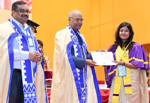The President, Shri Ram Nath Kovind presenting the degree certificate to a student at the 64th Annual Convocation of IIT Kharagpur, in West Bengal on July 20, 2018.