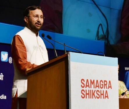 The Union Minister for Human Resource Development, Shri Prakash Javadekar addressing at the launch of the 'Samagra Shiksha', in New Delhi on May 24, 2018.