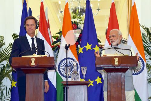 The Prime Minister, Shri Narendra Modi and the Prime Minister of the Kingdom of Netherlands, Mr. Mark Rutte at the Joint Press Statement, at Hyderabad House, in New Delhi on May 24, 2018.