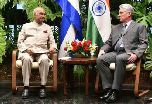 President Ram Nath Kovind concludes his successful tour to Greece, Suriname and Cuba,the President held delegation-level talks with his Cuban counterpart Miguel Mario Díaz-Canel on23 june 2018