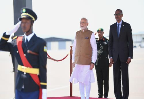 The Prime Minister, Shri Narendra Modi being seen off by the President of Rwanda, Mr. Paul Kagame, as he emplanes for Uganda from Rwanda on July 24, 2018.
