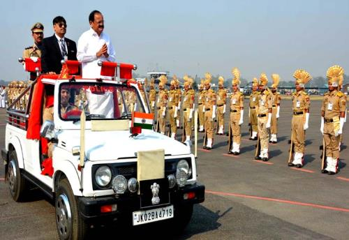 Vice president of India M Venkaiah Naidu took the salute of an most impressive and colourful parade  during his visit at jammu on Monday 28th May 2018