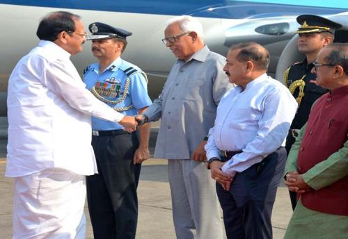 Vice President M Venkaiah Naidu being received by Governor of state Mr.N.N.Vohra at technical airport on Monday 28th May 2018.