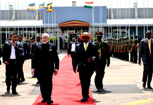 The Prime Minister, Shri Narendra Modi being seen off the President of Uganda, Mr. Yoweri K. Museveni, as he emplanes for Waterkloof, South Africa from Entebbe International Airport, Uganda to attend the BRICS Summit, on July 25, 2018.