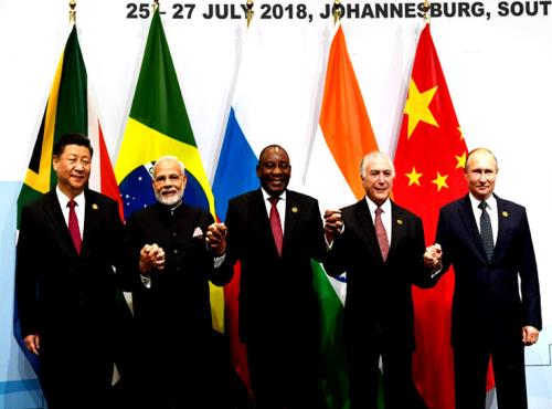 The Prime Minister, Shri Narendra Modi in the BRICS Family Photograph with other Leaders, at the 10th BRICS Summit, at the Sandton International Convention Centre, in Johannesburg, South Africa on July 26, 2018.