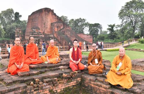 The delegates of the International Buddhist Conclave- 2018, at the ancient Nalanda University Ruins, in Nalanda, Bihar on August 25, 2018.